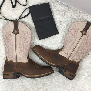 Rocky brown/cream leather cowboy boots